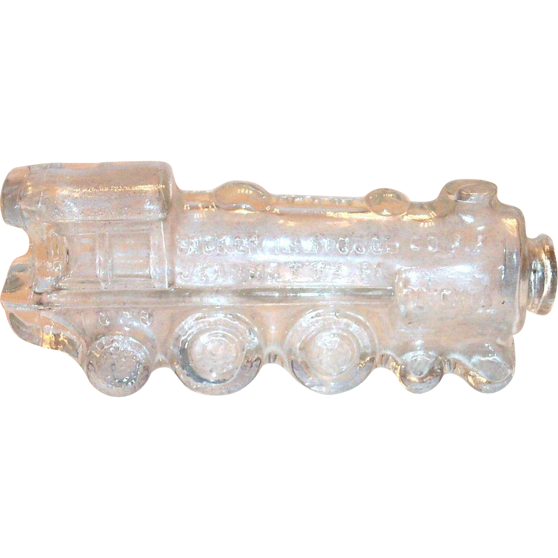 Vintage Glass Train Engine Candy Holder
