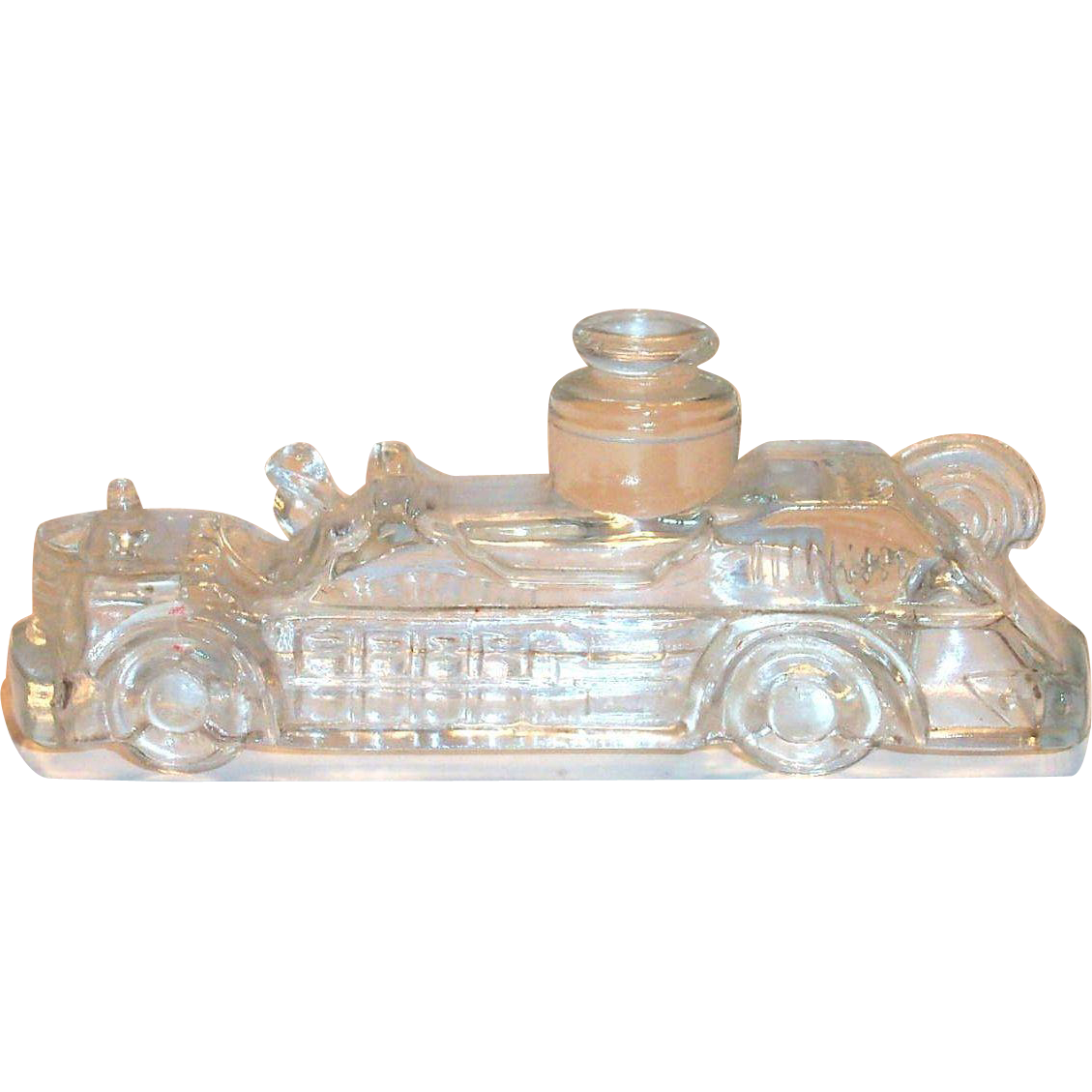 Vintage Glass Fire Engine Candy Holder