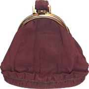 Vintage 1930's-40's Graceline Originals Brown Wristlet Handle Cloth Purse with Matching Coin Purse
