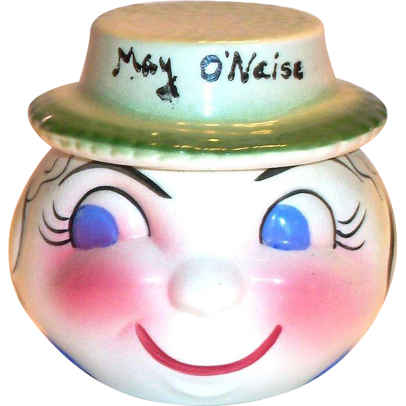 California Pottery: DeForest May O'Naise Anthropomorphic Hand Painted Porcelain Mayonaise Dish