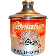 Vintage Carnation Malted Milk Aluminum Container