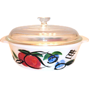 Vintage Fire King Gay Fad Hand Painted Outlined Fruit Design Glass Casserole