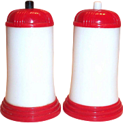 Vintage Retro Swanky Red & White Plastic Push Button Salt & Pepper Set