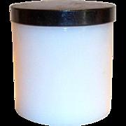 Vintage Large White Glass with Black Lid Vanity Jar