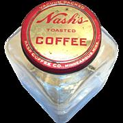 Nash's Toasted Coffee Large Glass Jar & Tin Lid