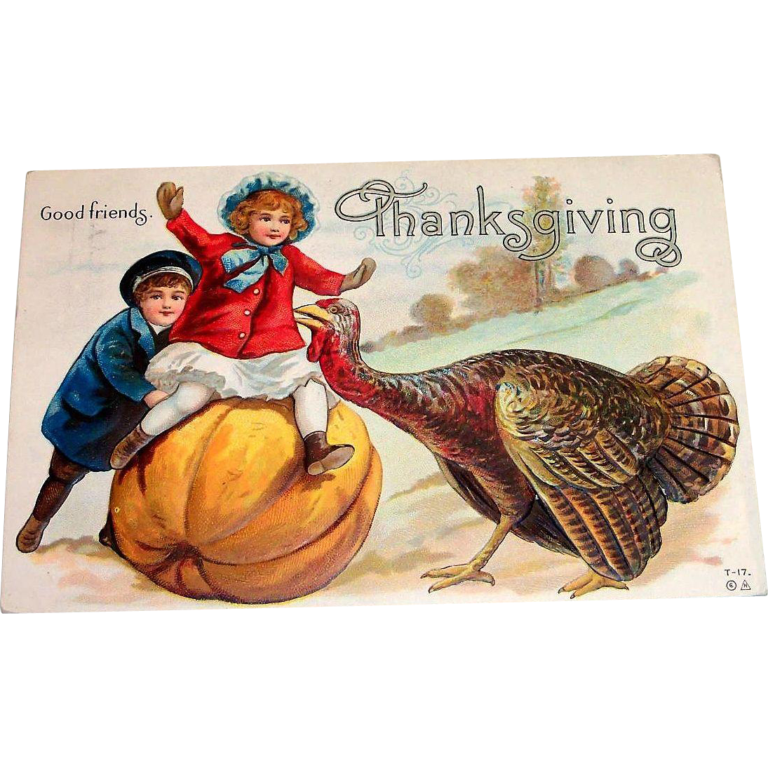 Vintage Good Friends, Thanksgiving Postcard - 1912