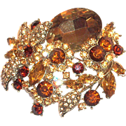 Larger Brown Glass Rhinestone & Dark Brown Rhinestone Floral Design Pin/Pendant
