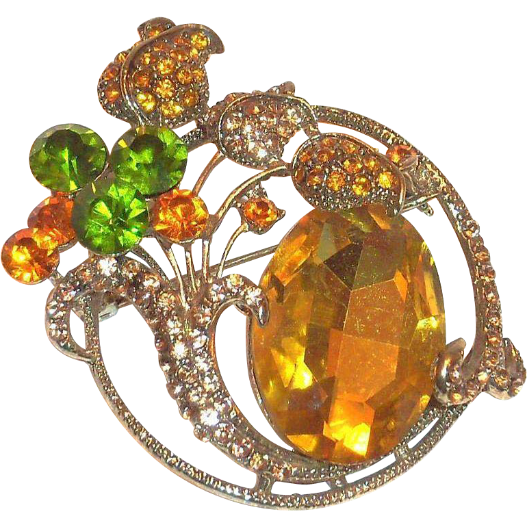 Lovely Large Amber Rhinestone With Green & Darker Amber Rhinestone Floral Design Pin/Pendant