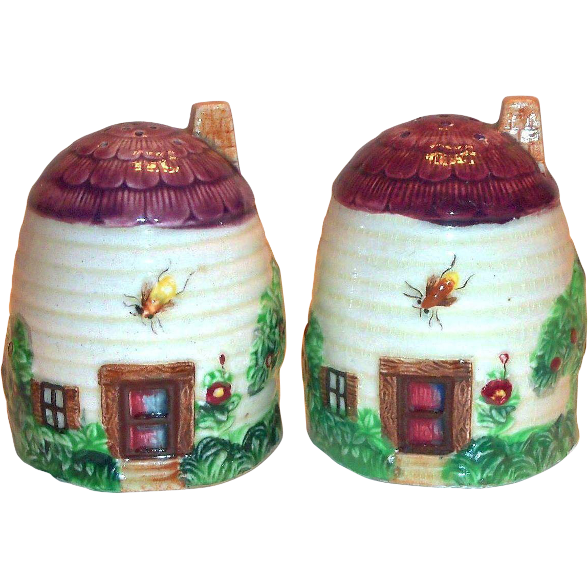 Vintage Beehive Cottage Design Porcelain Salt & Pepper Set