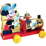 Vintage Fisher Price Mickey Mouse Choo-Choo Train Pull Toy - 1949