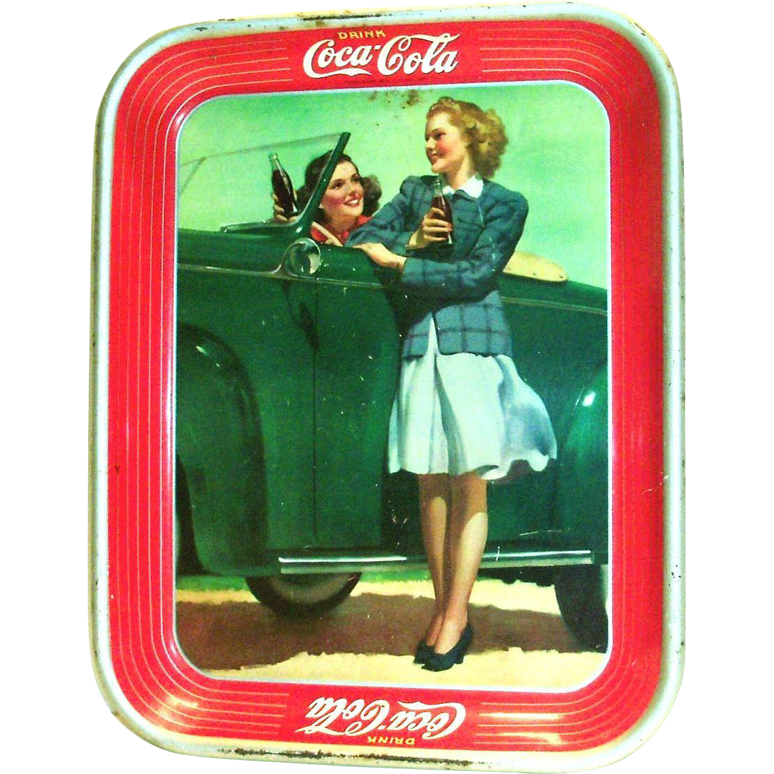 Vintage 1942 Coca Cola Girl Standing Next To Car Enjoying A Coke With Friend Metal Tray
