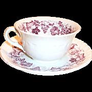 Wedgwood Old Vine of Etruria Mulberry Colored Grape, Leaf & Vine Design Cup & Saucer