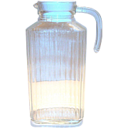 Vintage Vertical Rib Design Clear Glass Water Bottle