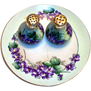 Vintage Hand Painted Violets & Leaf Design Plate & Matching Salt & Pepper Set - Marked