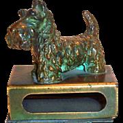 Vintage Brass Scottie Dog Matchbox Holder
