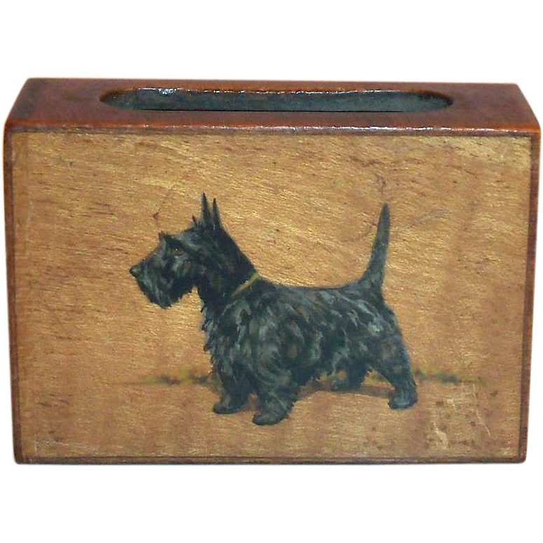 Vintage Hand Painted Black Scottie Dog Design on a Wooden Matchbox Holder