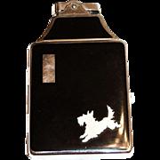 Ronson Scottie Dog Design Black Enamel Top & Back Cigarette Holder & Lighter
