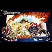 Vintage Thanksgiving Greetings Postcard - 1909