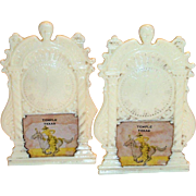 Vintage Plastic Novelty Temple, Texas Souvenir Creme Colored Mantel Clock Design Salt & Pepper Shakers