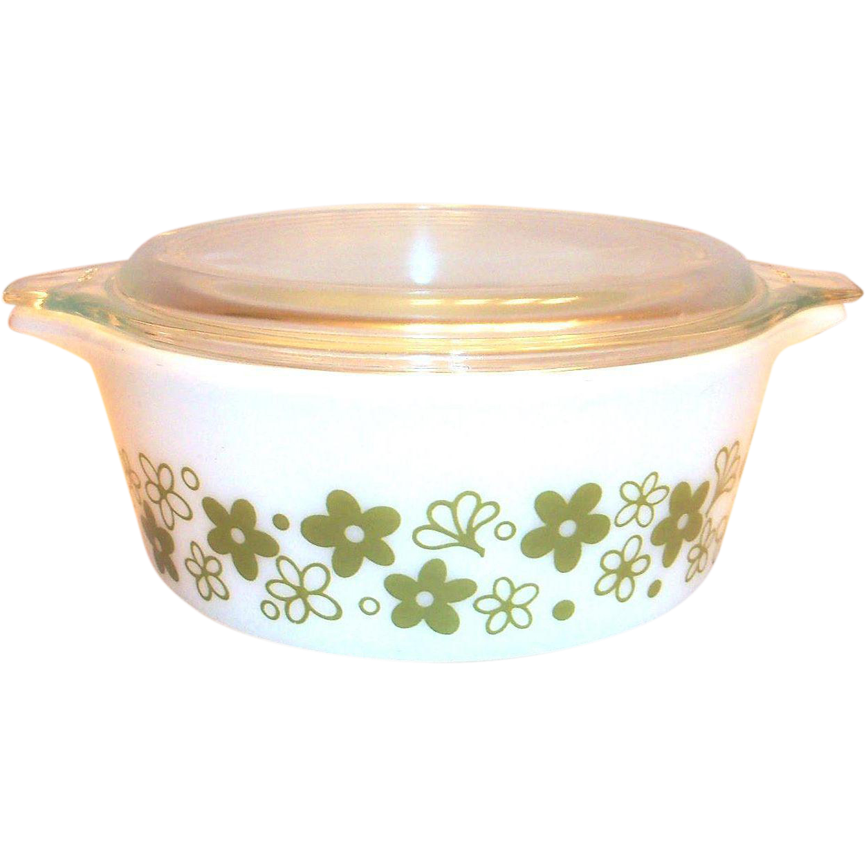 Vintage Pyrex Spring Blossom 1 1/2 Pt. Covered Glass Casserole