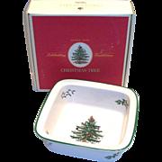 "Spode Christmas Tree 8"" Sq. Rim Serving Bowl In Original Box"