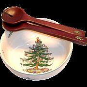 Spode Christmas Tree Round Salad Bowl & Servers