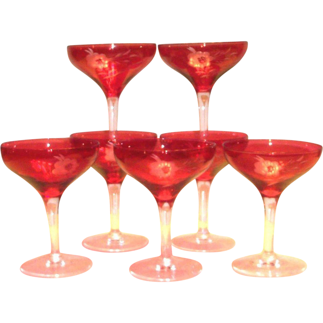 Vintage Etched Floral Design On Cranberry Stemmed Champagne Glass