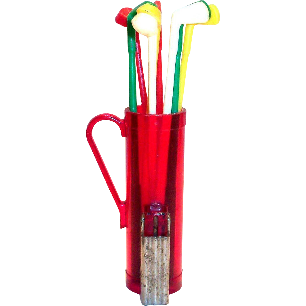 Vintage Plastic & Metal Novelty Golf Bag Holder & Club Stir Sticks