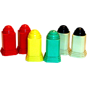 Vintage Six Piece Set of Art Deco Style Colorful Plastic Small Salt & Pepper Shakers