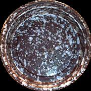 Vintage White On Brown Splatter Ware Enamel Colander