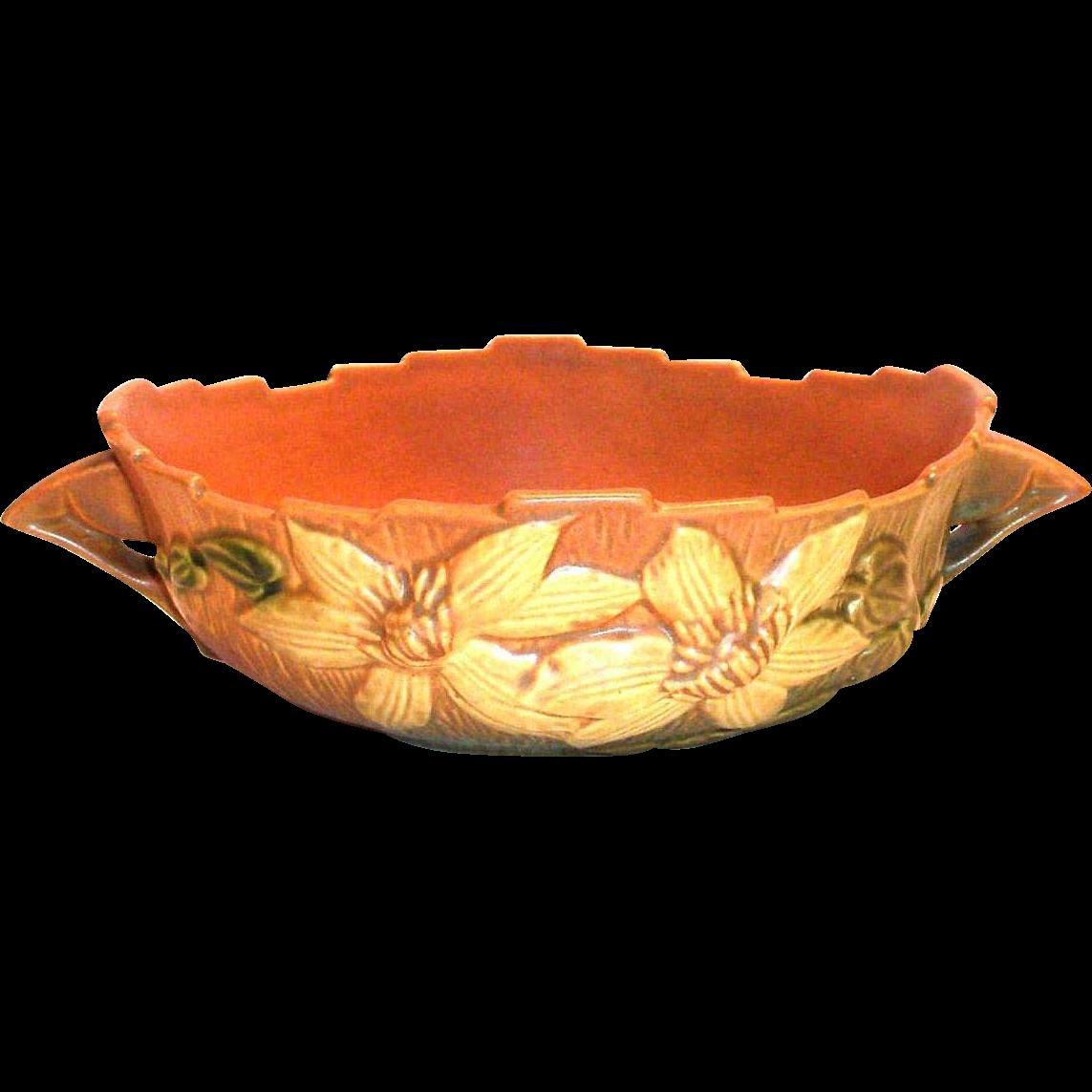 "Vintage Roseville Pottery Clematis Design 457-8"" Console Bowl"
