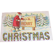 "Vintage Santa Claus Painting ""A Merry Christmas"" Sign Postcard"