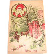 Vintage Christmas Greeting Santa & Deer Postcard