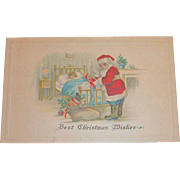 Vintage Best Christmas Wishes Postcard