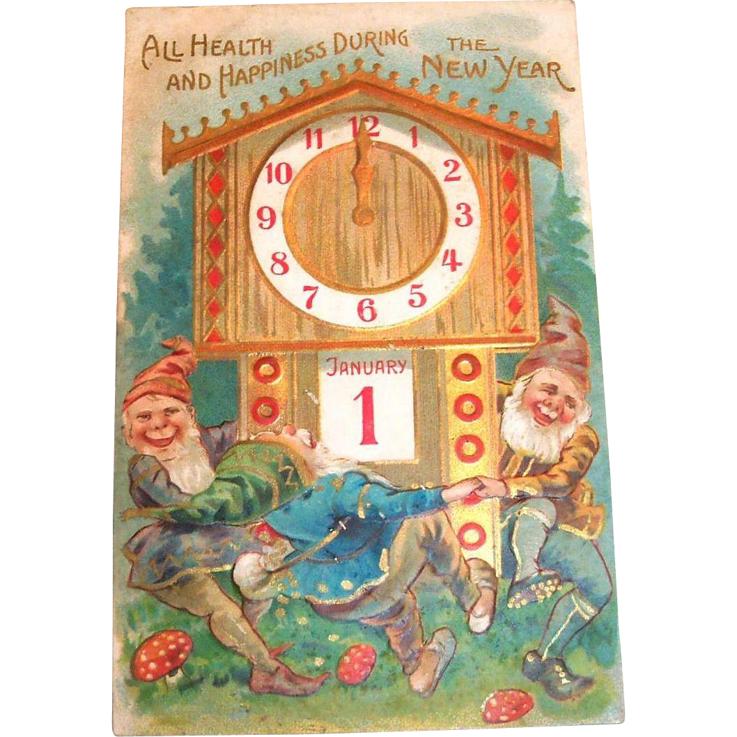 Vintage 1908 All Health And Happiness During The New Year Postcard