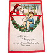 Vintage Merry Christmas - Santa Claus On Phone Postcard - 1915