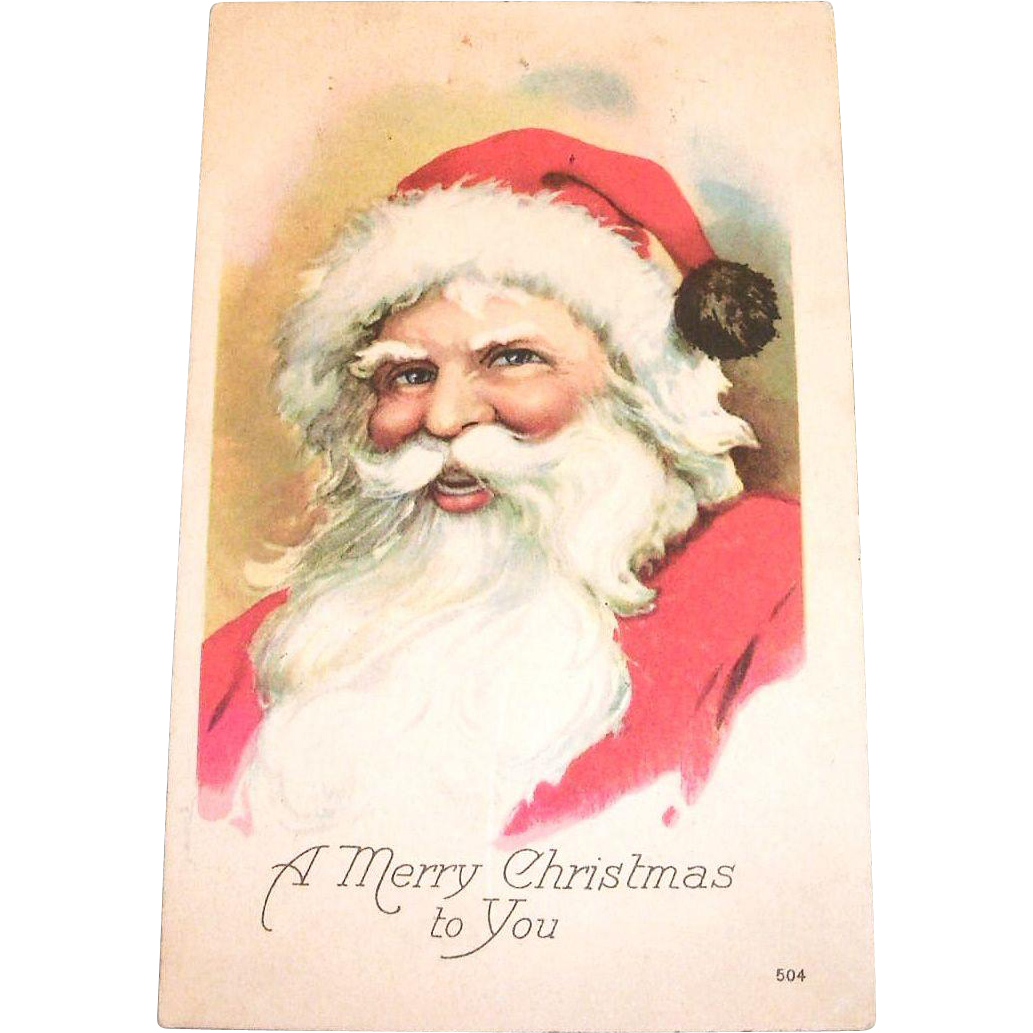 A Merry Christmas To You, Santa Claus Postcard - 1921