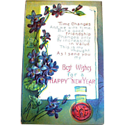 Best Wishes For A Happy New Year Postcard - 1917