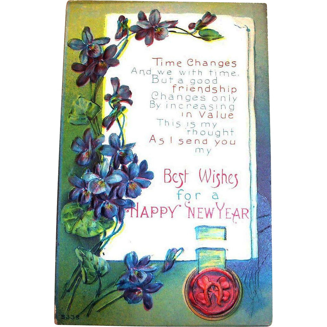 Best Wishes For A Happy New Year Postcard - 1917 : The Antique ...