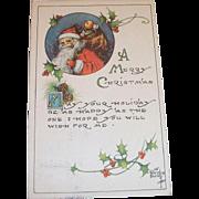 Vintage A Merry Christmas Postcard - Kathryn Elliott