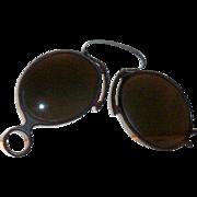 Vintage Pince-Nez Celluloid Frame Folding Black Glass Lens Sunglasses