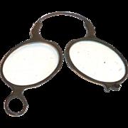 Vintage Pince-Nez Celluloid Framed Glass Lens Reading Eyeglasses