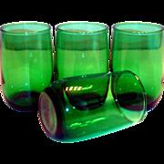 Vintage Anchor Hocking Transparent Emerald Green Juice Glass