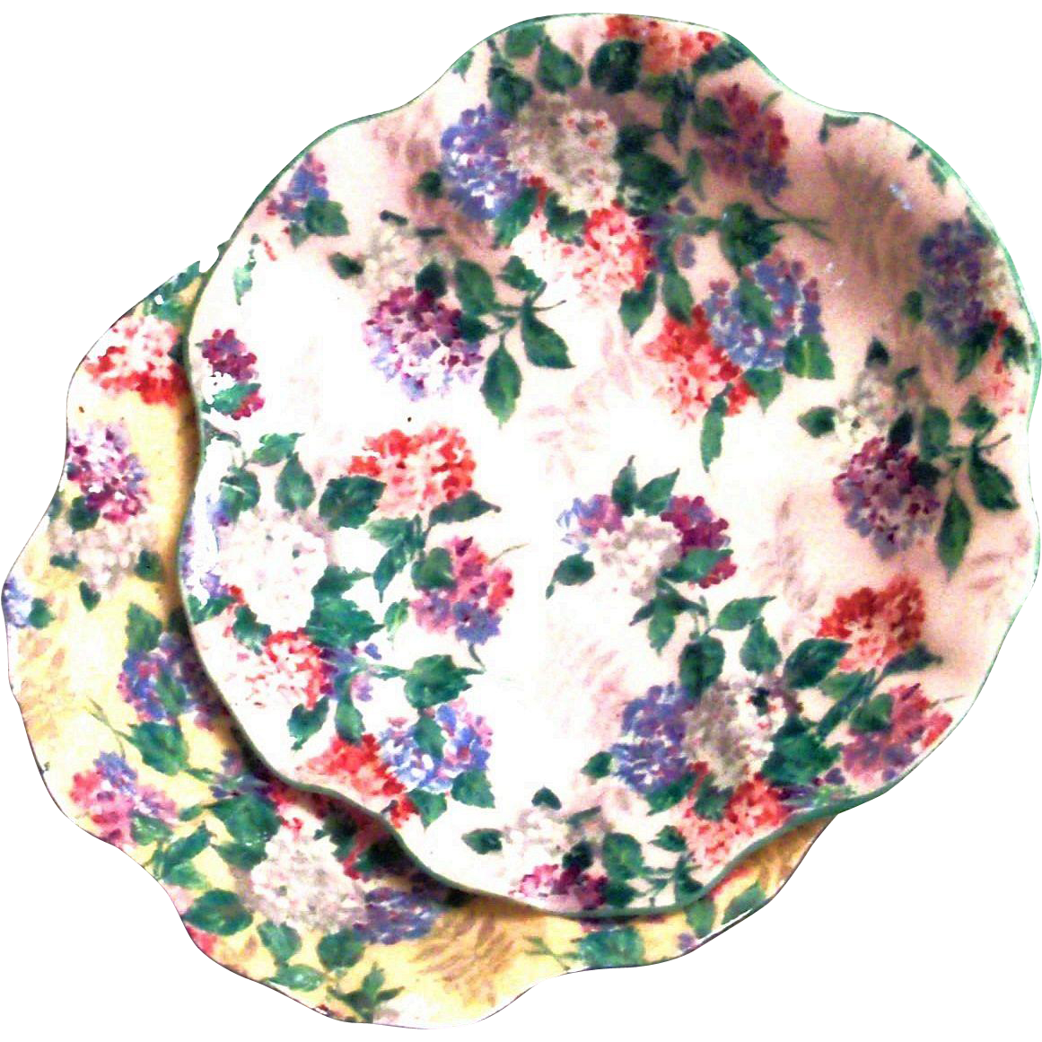 Vintage Shelley Bone China Chintz Floral Design On A Yellow Background Pin Plate