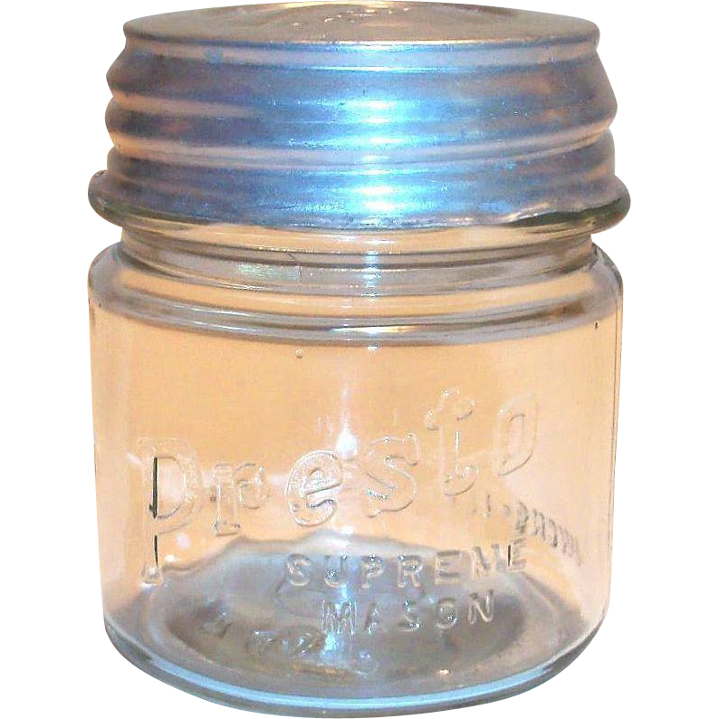 Vintage Presto Supreme Small Mason Jar with Original Presto Lid