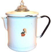 Vintage White Enamel Coffee Pot