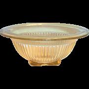 Federal Glass Co. Transparent Amber Glass & Square Bottom Bowl