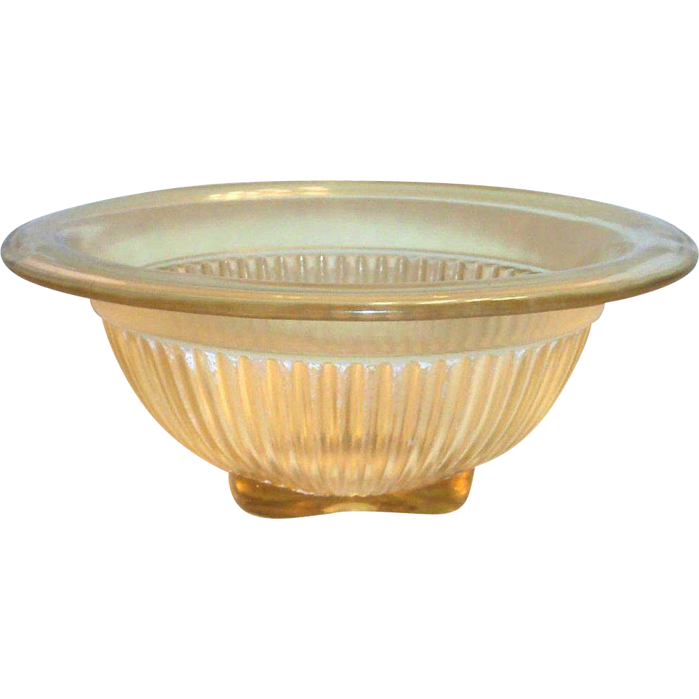 Federal Glass Co. Transparent Amber Glass & Square Bottom Bowl