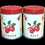 Vintage Decoware Tin Apple Design Salt & Pepper Set