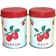 Vintage Decoware Tin Apple Design Salt & Pepper Set